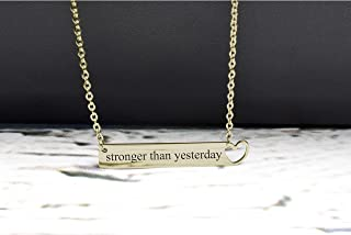 Pink Box Solid Stainless Steel Horizontal Heart Cut-Out Necklace - Stronger Than Yesterday - Gold