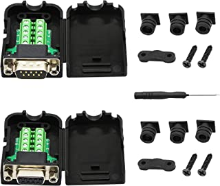 SinLoon DB9 Connector Adapter RS232 Serial Port D-SUB Adapter Plate Breakout Board Solder-Free (1-Pair Male+Female with Screwdriver ,Black Rubber Core)