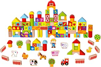 Toysters 128-Piece Wooden Farm Building Blocks | BPA-Free Wood Game ABC Number Block Set for Kids | Interactive STEM Educational Toy Great for Fine Motor Skills, Shape Sorting and Recognition | BK663
