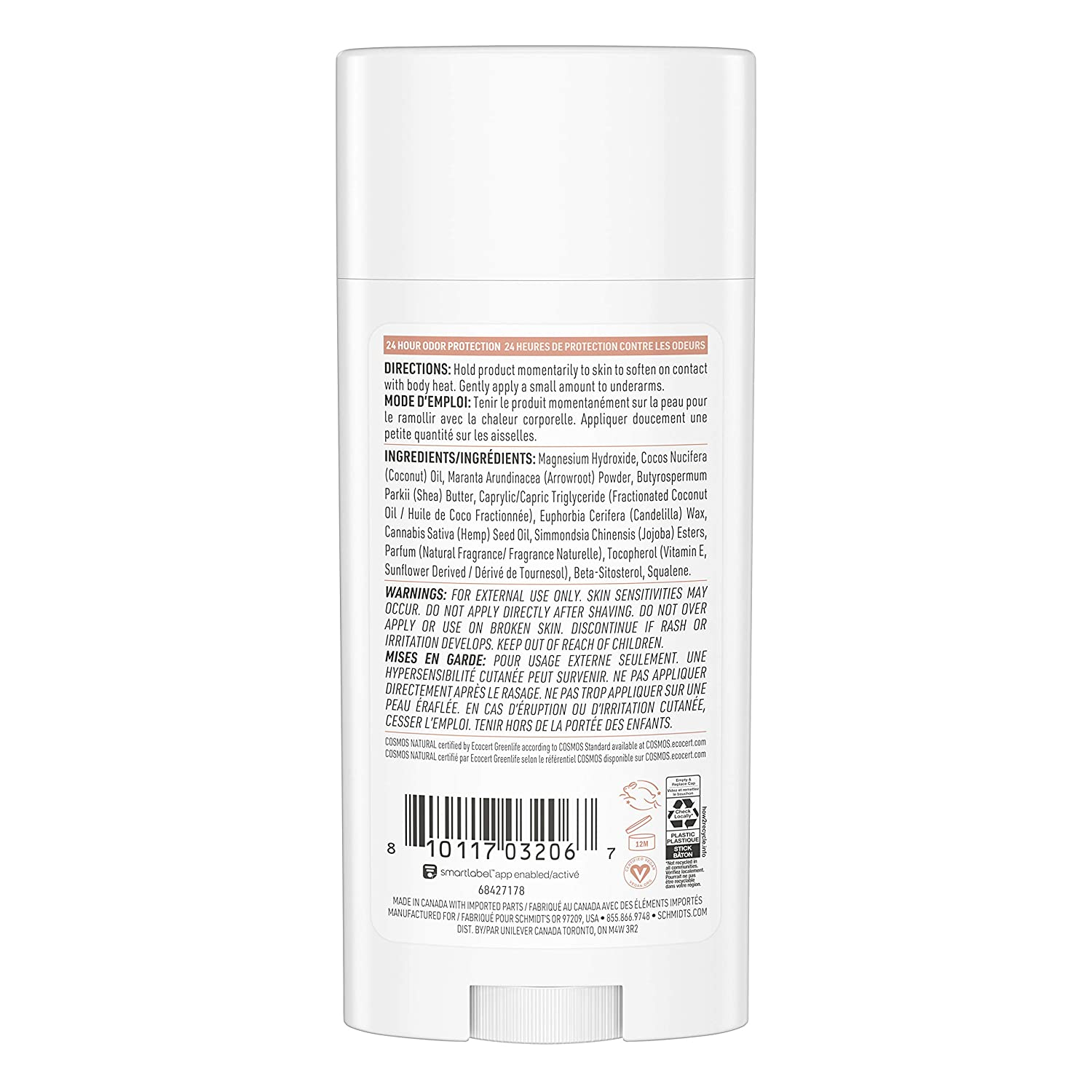 Schmidt's Aluminum Free Natural Deodorant for Women and Men, Sage + Vetiver  for Sensitive Skin with 20 Hour Odor Protection, Certified Cruelty Free, ...