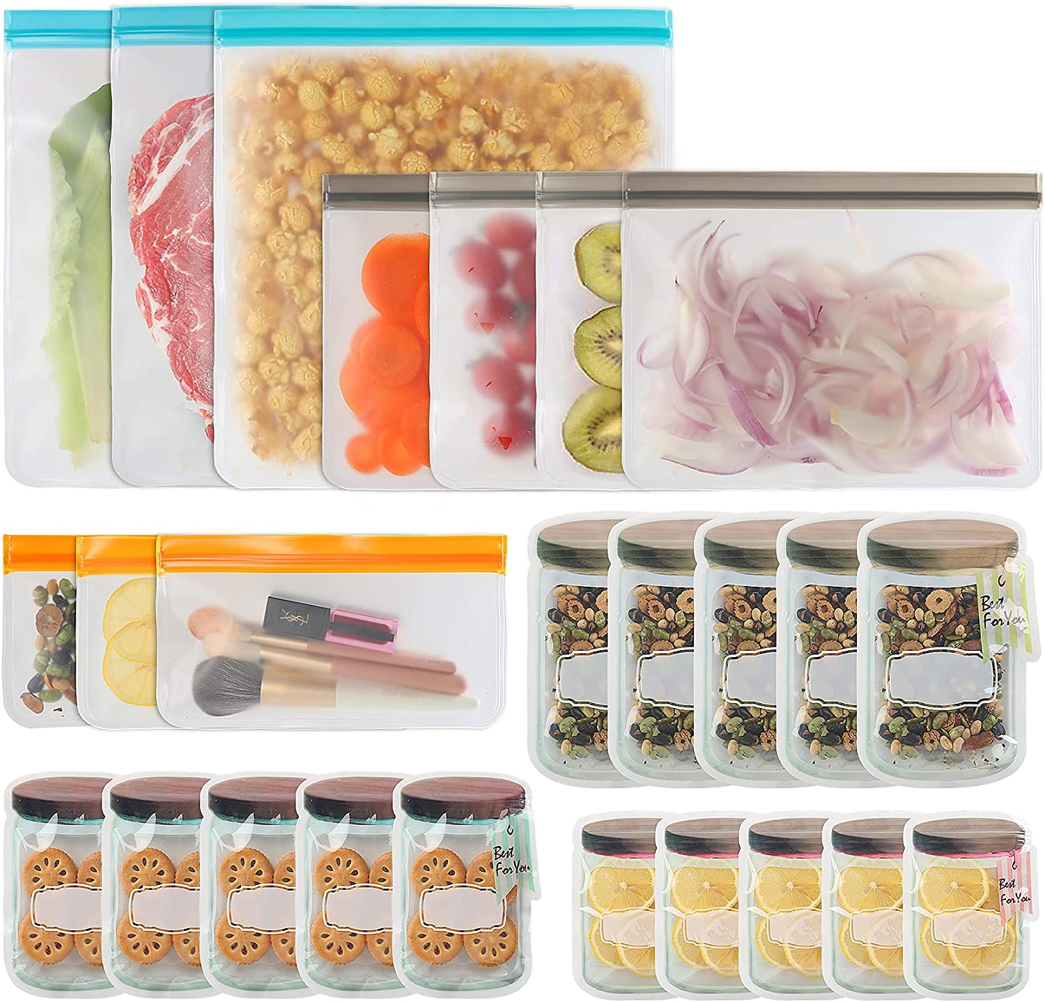 25 Pcs Reusable Food Storage Bags,10 Pcs Silicone Leakproof Reusable Freezer Bags (Additional 15 Reusable Mason Jar Bags),Thick PEVA Food Bags BPA Free Zipper Bags for Sandwich Meat Fruit Cereal Snack