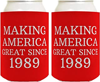 Birthday Gifts for 30th Birthday Making America Great Since 1989 30th Birthday Gag Gifts for Birthday Party 2 Pack Can Coolie Drink Coolers Coolies Red