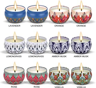 Eloer Scented Candles Gift Set (Lavender, Rose,Vanilla, Amber Musk,Lemongrass,Orange) Soy Wax Tin Candles, Natural Fragrance Candles for Stress Relief (Pack of 12)