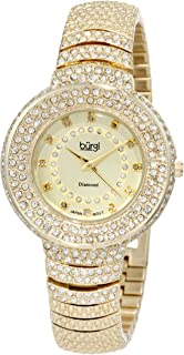 Burgi Women's BUR048 Diamond Accent Crystal Fashion Watch - Twelve Genuine Diamond Hour Markers