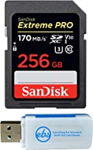 SanDisk 256GB Extreme Pro Memory Card works with Sony FDRAX53/B 4K, FDR-AX100/B Video Recording Camcorder, FDRAX33 Handycam, a7R II Camera SDXC 4K V30 UHS-I with Everything But Stromboli Combo Reader