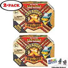 Treasure X Dragons Gold Mini Beasts (2 Pack) with 2 GosuToys Stickers Gift Bundle