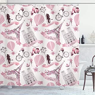 SZZWY Paris Travel Theme Honeymoon Flowers Romantic Romantic hot air Balloon Bicycle Fabric Bathroom Decoration with Hook Light Pink Decoration Room Decoration Home Easy to Clear Shower Curtain