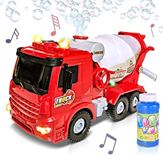 ArtCreativity Bubble Blowing Cement Truck Toy with LED and Sound Effects - 12 Inch Light Up Bump n Go Toy Car for Boys and Girls - Bubble Solution Included - Best Birthday Gift for Kids