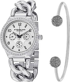 ساعة ستيرلينج اصلية للنساء بمينا فضية وسوار من الستانلس ستيل ومجموعة سوار - et_813S.01_B2S، شاشة عرض انالوج