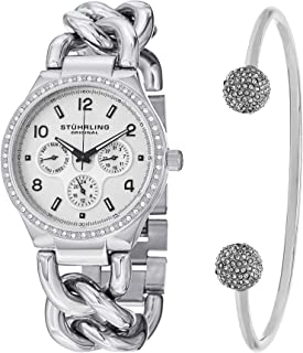 Stuhrling Original Women's Silver Dial Stainless Steel Band Watch & Bracelet Set - Set_813S.01_B2S, Analog Display