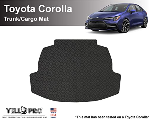 wholesale YelloPro Auto Custom fit Heavy Duty Trunk/Cargo Floor Mat new arrival Accessories for 2020 2021 Toyota Corolla high quality Sedan, Corolla Hybrid - All Weather Anti-Slip Liner Black Rubber [Made in USA] sale