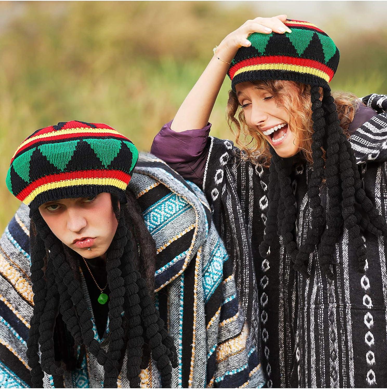 SATINIOR Rasta Hat with Black Dreadlocks Wig Rasta Wig with Cap for Costume Accessory