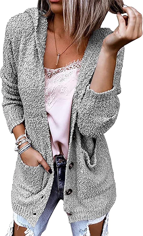 Theenkoln Women's Cardigan Hooded Open Front Long Sleeve Button Sherpa Popcorn Knit Sweater Outwears