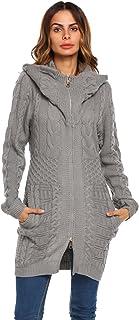 Zeagoo Womens Long Sleeve Hooded Aran Zipper Knitwear Cable Knit Cardigan SweaterSmallGrey