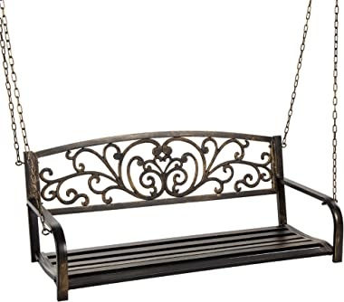 Best Choice Products 2-Person Metal Outdoor Porch Swing, Hanging Steel Patio Bench for Garden Deck w/Floral Accent, 485lb Wei