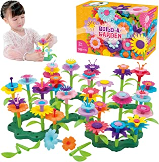 QHTOY DHSM Flower Toys,Flower Garden Building Toys 3, 4, 5 Year Old Toddler,Build a Bouquet Floral Arrangement Playset for...