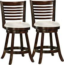 CorLiving DWG-914-B Woodgrove Cappuccino Stained Swivel Counter Height Barstool with Leatherette Seat, 24'' Seat Height, Set of 2