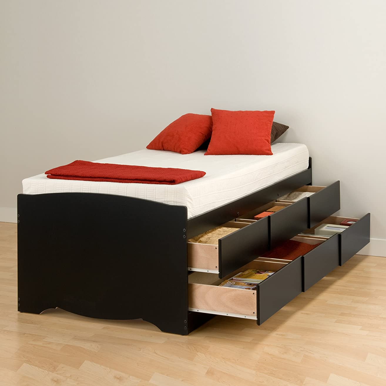 Prepac BBT-4106 Tall Twin Sonoma Platform Storage Bed with 6 Drawers, Black Mattress,