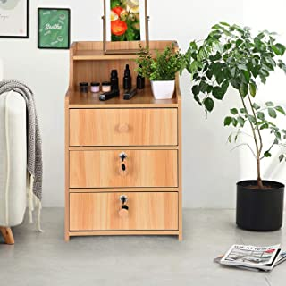 Bedside End Table 3 Drawers Nightstand Modern Night Stand...