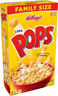 (Discontinued Version) Kellogg's Corn Pops, Breakfast Cereal, Original, Family Size, 19.1 oz Box(Pack of 12)