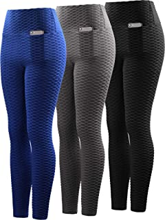 Neleus Women's 3 Pack High Waist Yoga Pants Tummy Control Running Workout Leggings with Pocket,9036,Grey/Blue/Black,US S,EU M