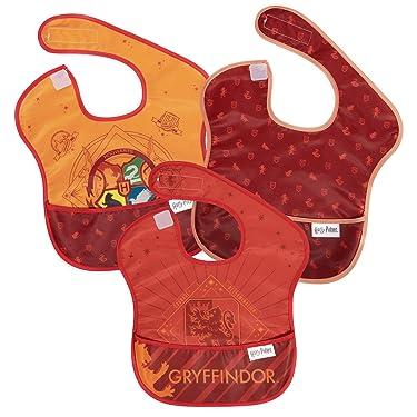 Bumkins Harry Potter SuperBib, Baby Bib, Waterproof, Washable, Stain & Odor Resistant, 6-24 Months, 3 Pack - Gryffindor (S3-HPG1)