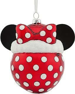 Hallmark Christmas Ornaments, Disney Minnie Mouse Icon With Santa Hat Blown Glass Ornament