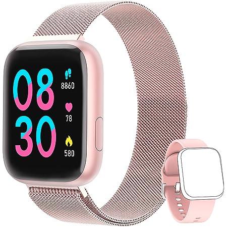 NAIXUES Smartwatch Orologio Fitness Sportivo Donna Uomo Impermeabile Smart Watch Cardiofrequenzimetro Contapassi da Polso Monitor Pressione Sanguigna Activity Tracker Compatibile con Android iOS(Rosa)