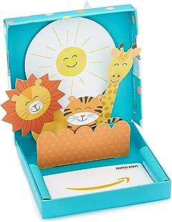 Tarjeta de regalo de Amazon.com en una caja de regalo para bebé de bienvenida.
