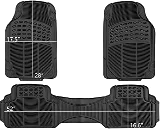 PIC AUTO Car Floor Mats Rubber Heavy Duty All Weather Protection Trimmable Universal for Car SUV Van Trucks (Black, 3 Pieces)
