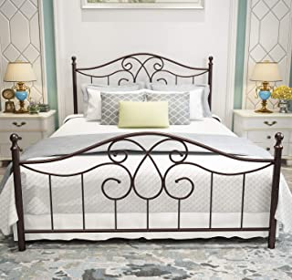Vintage Sturdy Metal Bed Frame Queen Size with Vintage Headboard and Footboard Platform Base Bed Frame No Box Spring Needed Steel Bed,Antique Brown,Queen.
