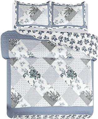 Legacy Decor 3 PCS Quilt Bedspread Coverlet Blue and White Floral Patchwork Design Microfiber Queen Size