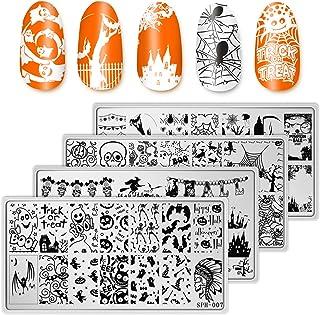 Whaline 4 Pieces Halloween Nail Art Plates Image Stamp Templates Stamping Kit DIY Print Manicure Salon Design