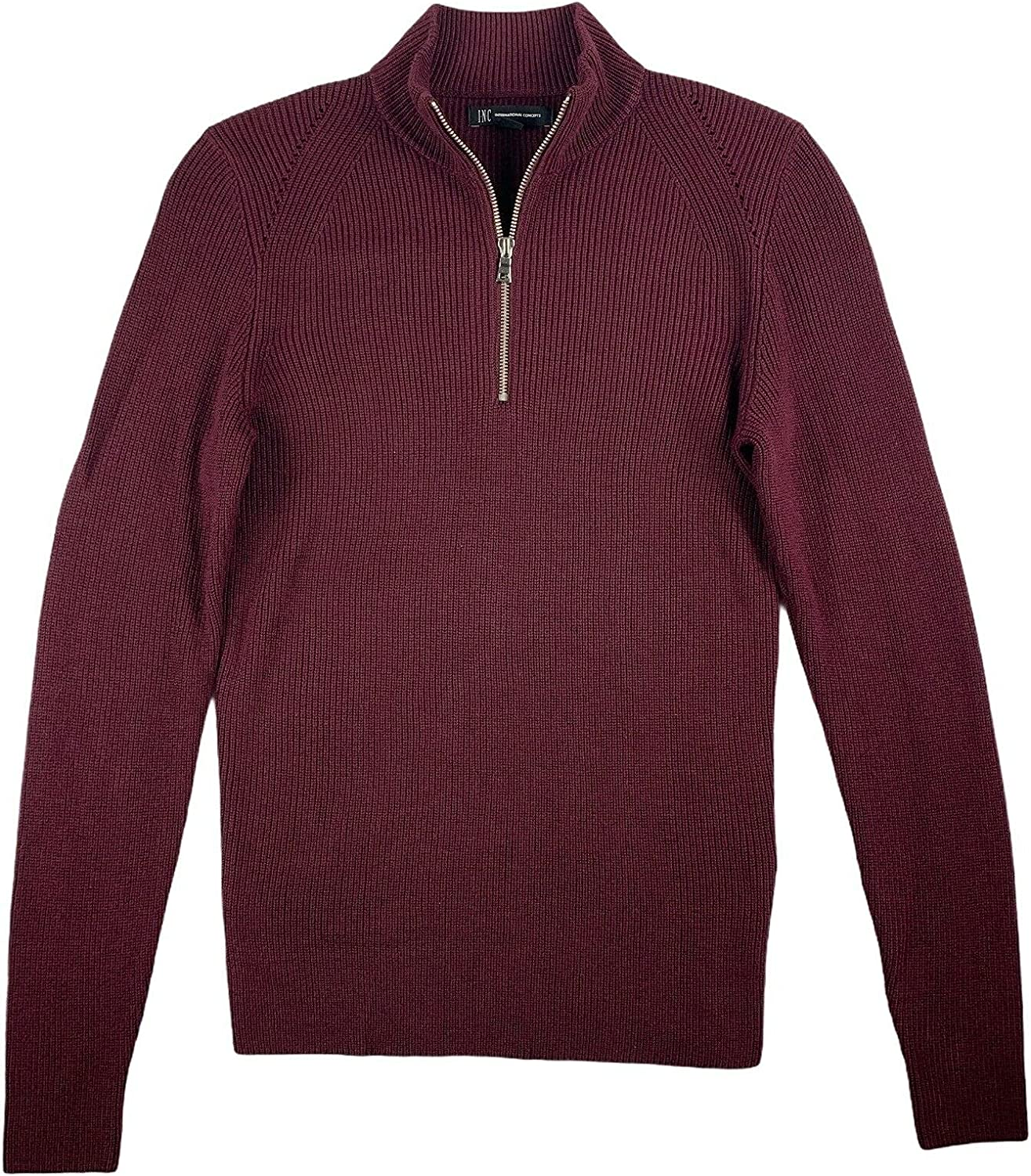 INC Mens Sweater Port Ribbed Knit 1/4 Zip Mock-Neck Pullover Red XL