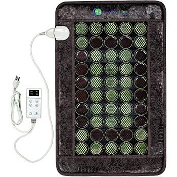 HealthyLine Heating Pad with Far Infrared Radiant Heat Technology 32in x 20in - Hot Stone Therapy - Negative Ions - 50 Pieces Natural Gemstone, 1 Count (Pack of 1)