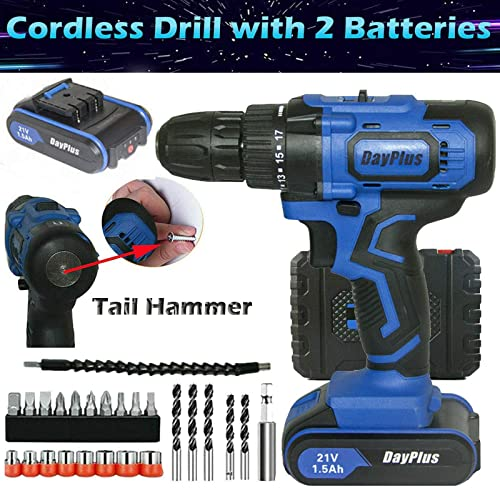 """lowest 21V Max Cordless Drill lowest Driver with 2 Lithium Ion Battery Fast Charger and 29pcs Accessories Combo Kit, 3/8"""" keyless online Chuck, 2 Variable speed, Magnet, Tail Hammer, LED Light, Heavy Duty Power Tool sale"""