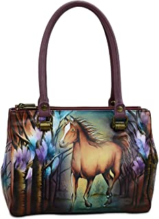 Hand Painted Leather Women's Triple Compartment Medium Tote