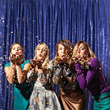 Eternal Beauty Satin Sequin Backdrop Curtain, Glittery Photography Backdrops, Thick Non-Transparent Shiny Party Sequin Curtain (Navy Blue,4Ft x 6Ft)
