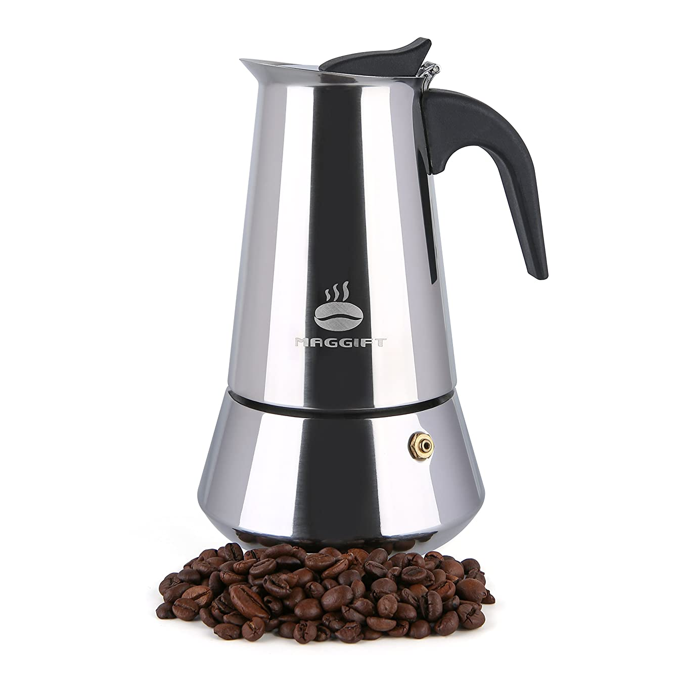 Maggift Coffee Stovetop Espresso Maker, Stainless Steel for Gas or Electric Stove Top Moka Pot (6 Cup)