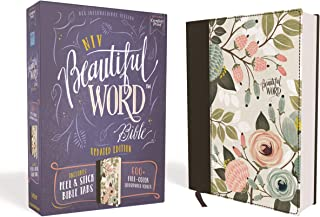 NIV, Beautiful Word Bible, Updated Edition, Peel/Stick Bible Tabs, Cloth over Board, Floral, Red Letter, Comfort Print: 60...