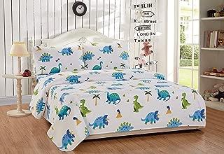 Full Size 4pc Sheet Set for Kids Dinosaur Blue Green White New