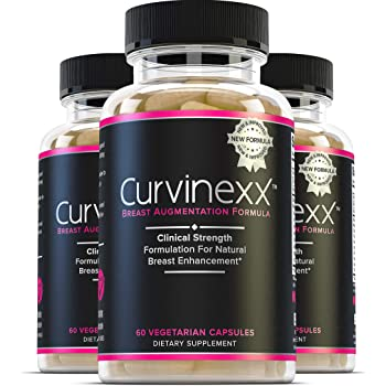 Curvinexx (3 Bottles): The Ultimate Natural Breast Enhancement and Enlargement Growth Pills | | with Fenugreek, Dong Quai & Wild Yam, 60 Caps Each