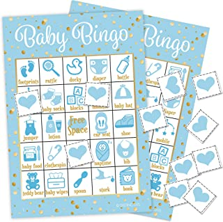 DISTINCTIVS It's a Boy Baby Shower Bingo Game, Blue and Gold - 24 Guests