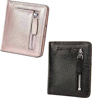 AINIMOER Women Leather Wallet RFID Blocking Small Mini Bifold Zipper Pocket Card Case Champaign Gold and Black Bundle