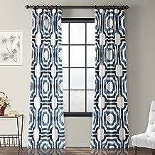 Half Price Drapes PRTW-D23B-84 Mecca Printed Cotton Curtain, 50 x 84, Blue