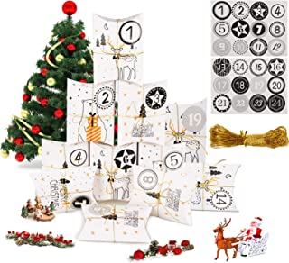 MEIXI Calendrier de l'Avent, 24 Noël Calendrier Boites Cadeau Sacs en Papier avec 24 Autocollants Numérotés, Calendrier Av...