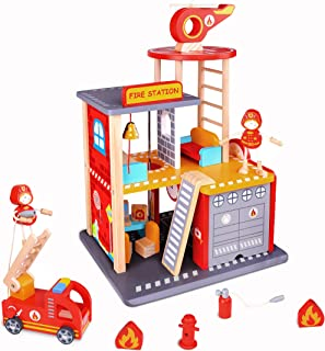 USA Toyz Wooden Fire Station Playset - 22pc Wood Fireman Toys w/ Toy Fire Truck and Rescue Helicopter