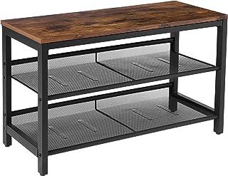 HOOBRO Shoe Bench, 3-Tier Shoe Rack, Industrial Shoe Storage Unit Flat & Slant Adjustable Shoe Organizer Shelf for Entrywa...