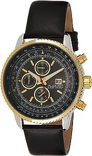 August Steiner Men's Mercury Round Three Hand Quartz Watch with Leather Strap