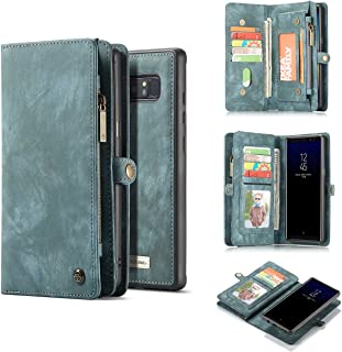 Galaxy Note 8 Case,AKHVRS Handmade Premium Cowhide Leather Wallet Case,Zipper Wallet Case [Magnetic Closure]Detachable Magnetic Case & Card Slots for Samsung Galaxy Note 8 - Blue